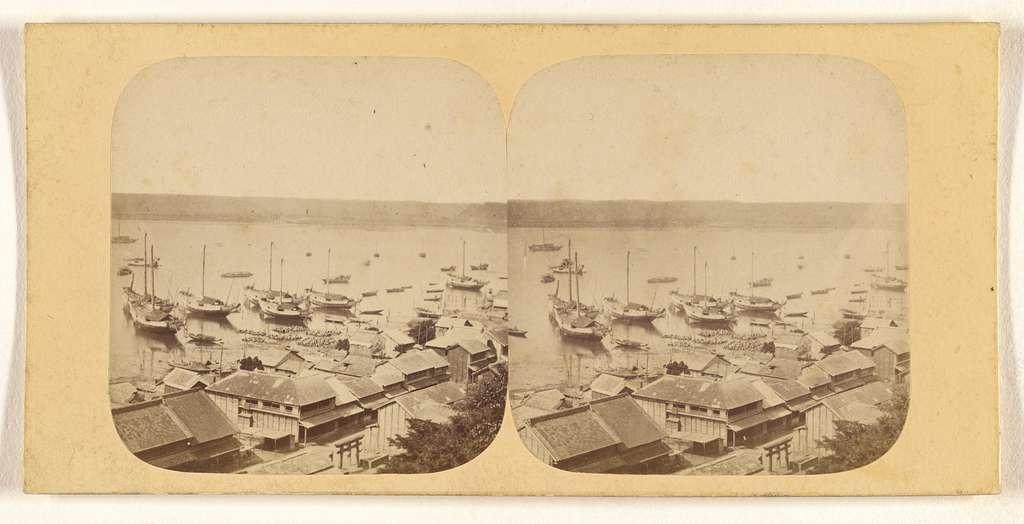 Kanagawa. Port of Kanagawa, with Japanese Shipping.