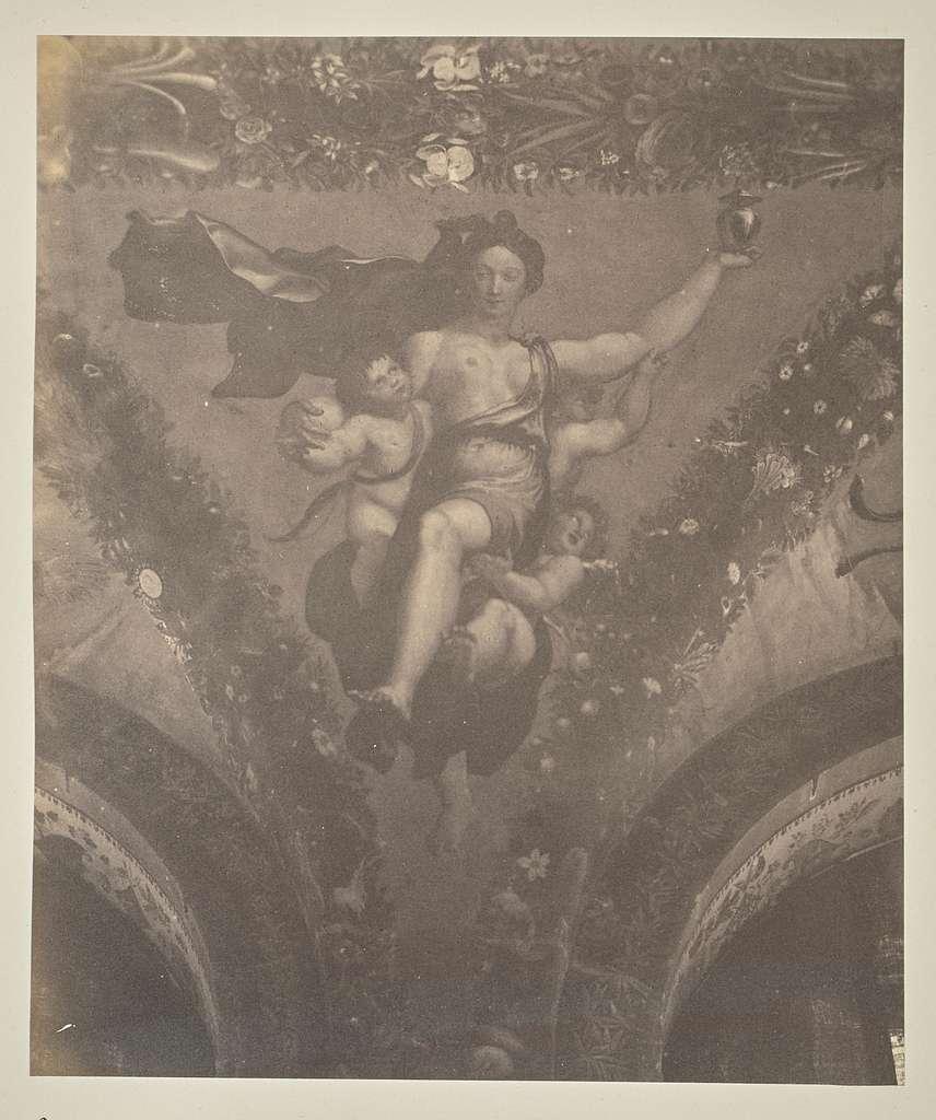 Psyche von Genien getragen, mit dem ihr von Proserpina zur Beschwichtigung der Venus gegebenen Schminktopfe