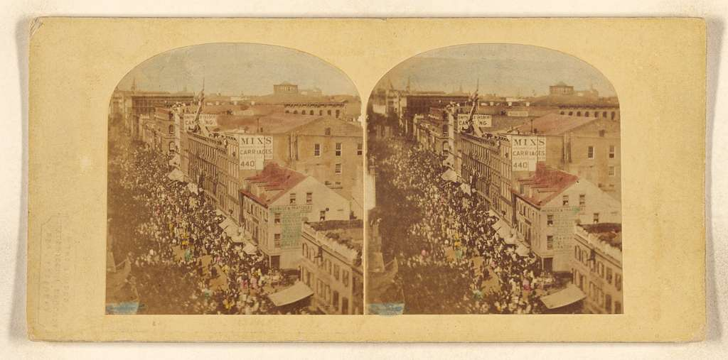 The Atlantic Telegraph Jubilee, New York. View of the Procession in its progress up the Broadway
