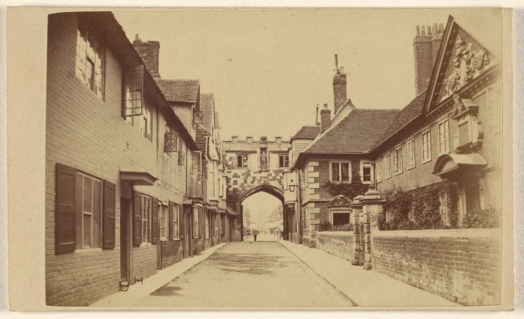 North Gate of Close, with Widows' College. [Salisbury]