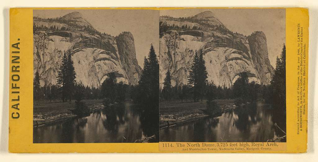 The North Dome, 3,725 feet high, Royal Arch, And Washington Tower, Yo-Semite Valley, Mariposa County.