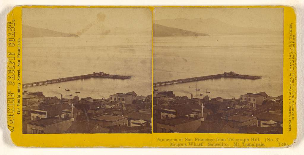 Panorama from Telegraph Hill. (No. 3) Meigg's Wharf. Saucelito. Mt. Tamalapis.
