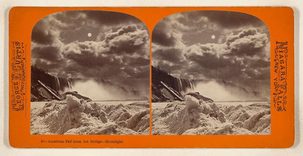 American Fall from Ice Bridge - Moonlight. [Niagara Falls, New York]