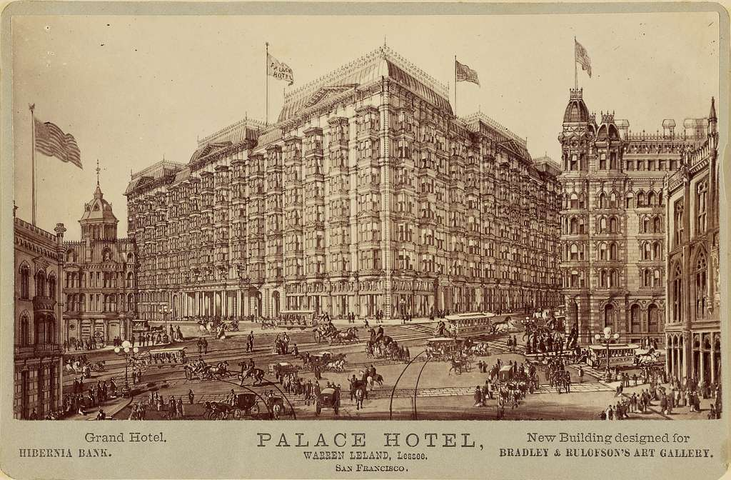 Palace Hotel, San Francisco. New Building designed for Bradley and Rulofson Gallery.
