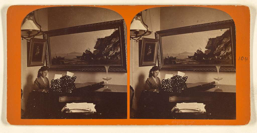 [Unidentified woman playing the piano, large landscape painting on wall]