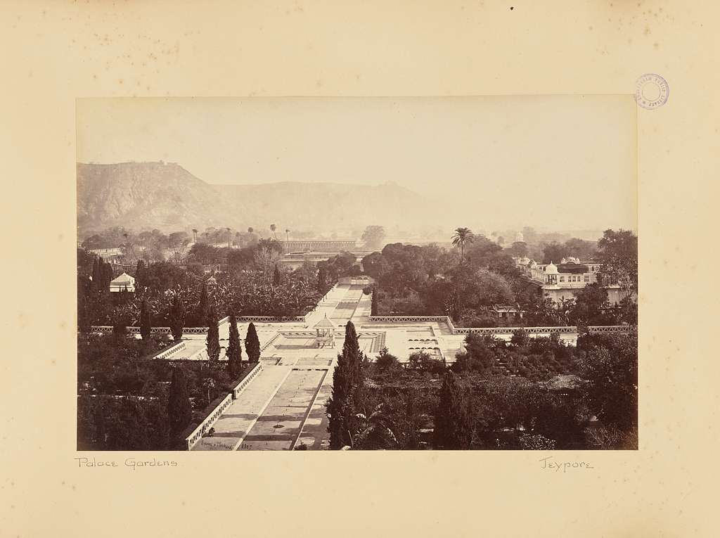 Jaypur; View of the Palace Gardens and Fort, from the Palace
