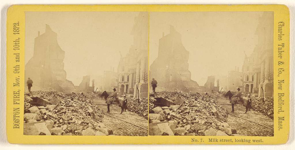 Milk street, looking west. Boston Fire, Nov. 9th and 10th, 1872.