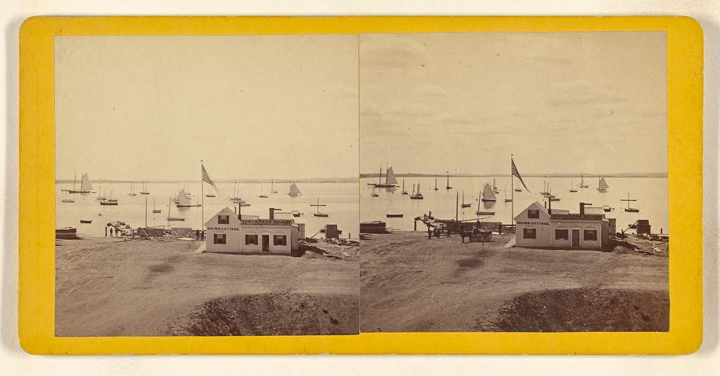 [View of Sea View Cottage Ice-Cream Saloon and beach at unidentified place in Massachusetts]