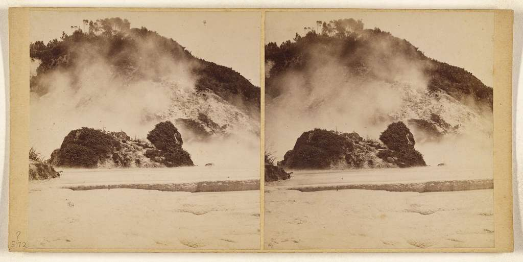 White Terrace. Destroyed in Volcanic Eruption, June 1886.