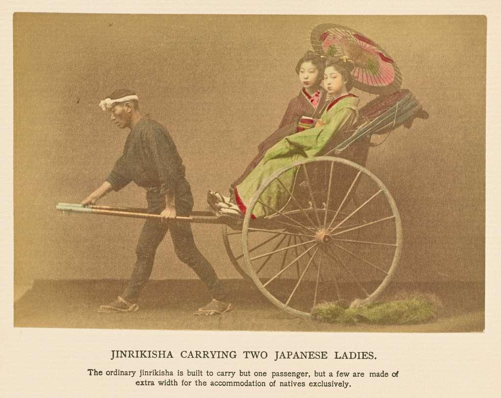 Jinrikisha Carrying Two Japanese Ladies